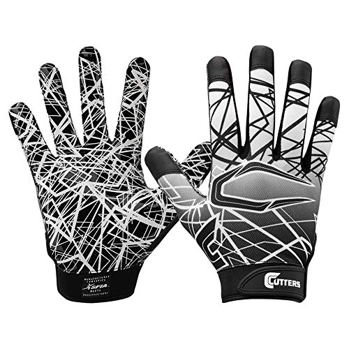 Cutters Jugend und Senior S150 Game Day Receiver Handschuhe Youth Adult Gloves - schwarz Gr. M