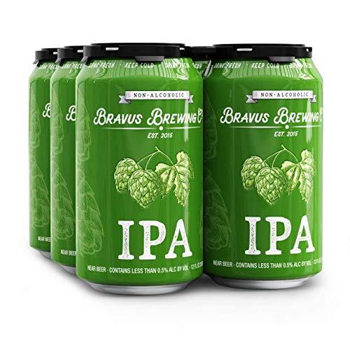 Bravus Non-Alcoholic West Coast IPA - 6 Pack x 12 Fl Oz Cans - Low-Calorie, Award Winning, NA Craft Brew