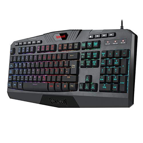 Redragon K503 RGB Gaming Tastatur Leises Gaming Keyboard mit RGB Beleuchtung, Multimedia-Tasten, insgesamt 115 Tasten für Windows PC - DE QWERTZ