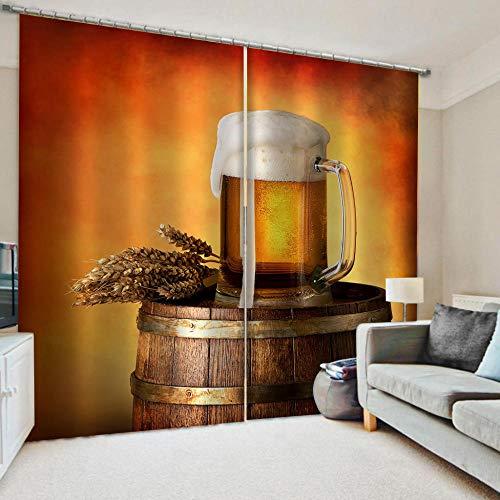 nobrand 3D Verdunkelungsvorhang Bier,100% Polyester Blickdicht Vorhänge Lärm Reduzierengeeignet Kinderzimmer Wohnzimmer Dekoration 2Er Set220Wx215H cm