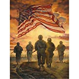Diamond Painting Adult Art Full Round Drill 5D Kit Embroidery Numbers Crystal Rhinestone Arts and Crafts for Home American Flag and Soldier 11.8x15.7in Pack by Fairtie