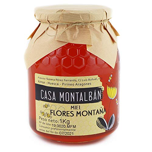 Miel de abeja pura Flores Montaña Hecha en España 100% Natural, Miel cruda sin calentar sin aditivos directo de Apicultor- 1 Kg