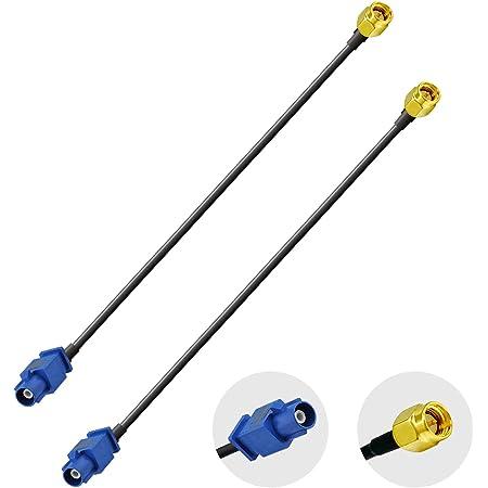 Vecys Adaptador Fakra Adaptador SMA Cable Antena GPS Fakra C a Conector SMA RG174 15 cm 6 Pulgadas 2 Piezas para El Automóvil Módulo GPS Antena de Rastreo Sistema de Navegación GPS Receptores GPS