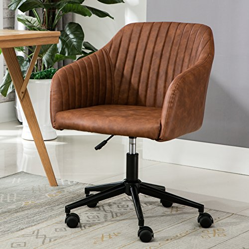 Porthos Home Madison Office Desk Chair with Mid-Height Padded Back and Armrests in Tufted PU Leather Upholstery, 360-degree Swivel Seat with Adjustable Height and Roller Wheels (for Offices