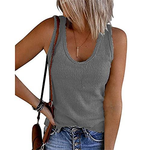 Camiseta Sin Mangas Mujer Tops Mujer Moda Sexy con Cuello En V Color Sólido Tops Sin Mangas Vacaciones De Verano Casual Cómodo Simple Mujer Blusa H-Grey M