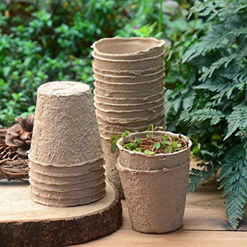 YHNJI 100 macetas de turba para semilleros de jardín, germinación de plantas para flores, verduras, plantones y hierbas