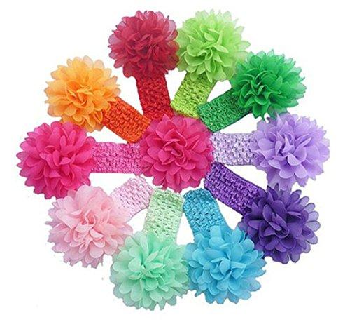 CuteOn 10 pack Bambino Barrettes Elastici Neonate fascia del fiore fiocco in chiffon di capelli
