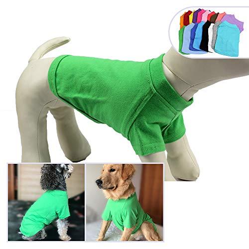 longlongpet Camiseta, camiseta para mascotas, ropa de perro, en blanco, para perros pequeños, medianos y grandes, disfraz de verano, 9 colores, 100% algodón naranja naranja extra-small