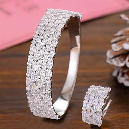 ZIRCOSHNY BIG - Conjunto de anillos para mujer, cristal cúbico y circonita, color plateado