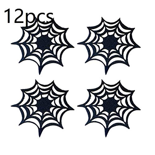 12pcs Halloween Spider Webs Coasters Placemat Decorative Table Placemats Doilies for Halloween Table Decor Gift for Home Garden