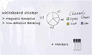 """ZHIDIAN Magnetic Whiteboard Sticker, 94"""" x 48"""" Dry Erase Whiteboard Contact Paper for Wall, Dry-Erase Board Wallpaper for School/Office/Home, Includes 4 Markers, Non-Adhesive Back"""