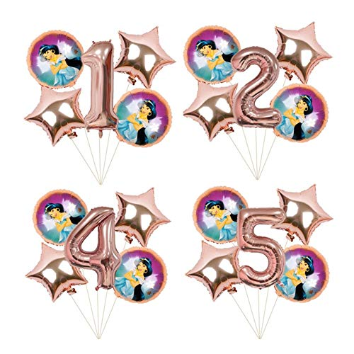 XINGYAO Balloon 6pcs 18inch rose gold Princess foil balloons Birthday Party decorations kids Snow White Anna gift 40inch number decoration (Color : Jasmin rose gold set, Shape : 1)