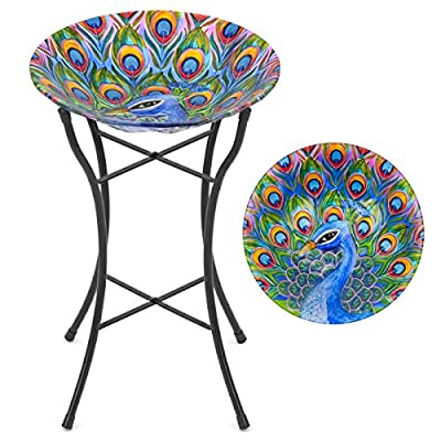 CHRISTOW Bird Bath Glass With Stand, Garden Gift, Outdoor Patio Decoration, Hand Painted, UV Resistant, (Non Solar, Peacock) H50cm by Christow