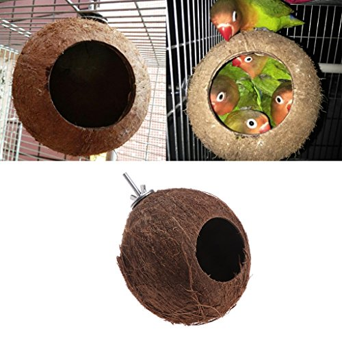 Lunji 1pc Nid Oiseau Naturel Coconut Shell pour Perruches Budgerigar