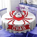 Mantel redondo de cangrejos, símbolo de animales acuáticos exóticos en rojo marinos, icono océano, vida silvestre mariscos decorados cocina diámetro 59 pulgadas blanco escarlata