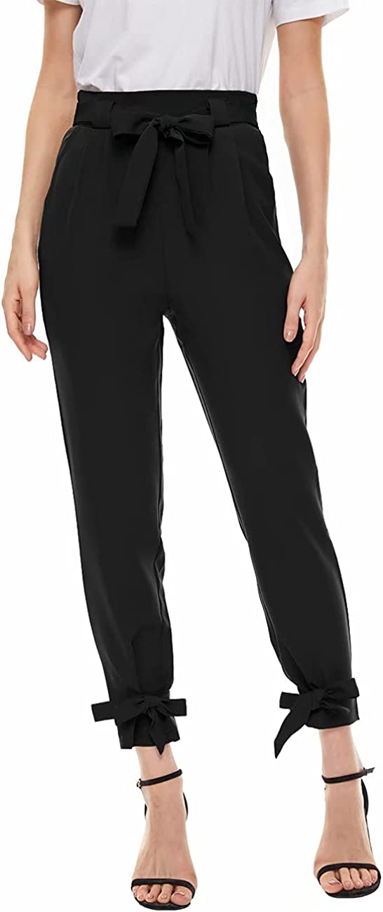 A ADILACA Paperbag Pants for Women, Self-Tie Waist & Tie Leg Pant with Pocket, Casual High Rise Bow-Knot Pencil Long Trouser