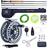 Sougayilang Fly Fishing Rod and Reel Combo, 4 Pieces Ultra Lightweight Portable Fly Rod and CNC...