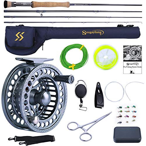 Sougayilang Fly Fishing Rod and Reel Combo, 4 Pieces Ultra Lightweight Portable Fly Rod and CNC Machined Aluminum Alloy Matte Reel Complete Starter Package with Rod Bag (Fly Fishing Combo #8)