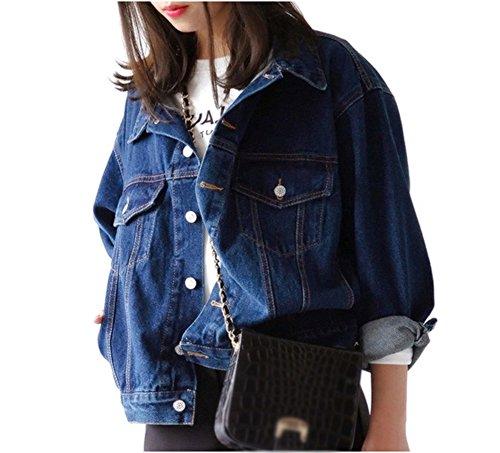 LaoZan Damen Jeans-Jacke Blouson Übergangsjacke Mantel Outwear BF Jeansjacke Cowboy-Mantel Outwear L Dunkelblau
