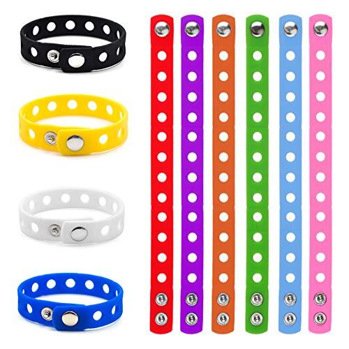GOGO 10 braccialetti regolabili in silicone per scarpe da adulto per braccialetti elastici in gomma, Multicolore (assortiti), Taglia unica