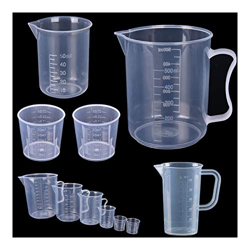 Ideal Kitchen 15ml / 30ml /50ml /250ml /500ml Clear Plastic Graduated Measuring Cup for Baking Beaker Liquid Measure JugCup Container Safe (Color : 250ML 1pcs)