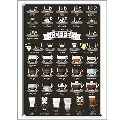 5562 Arte de la pared de la placa de madera del diseño de la vendimia   38 tipos de menú de la receta del café   tablero de madera natural pintura decoración de la pared para café/cocina/cafetera