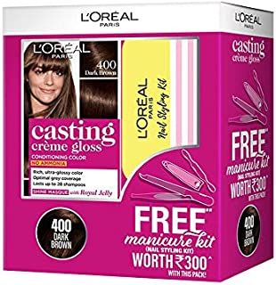 L'Oreal Paris Casting Crème Gloss Hair Colour 400 (Dark Brown) with Manicure Kit FREE, 405 g