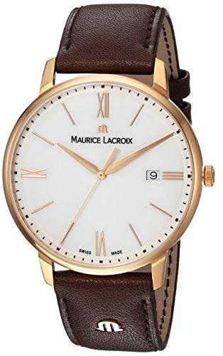 Maurice Lacroix Herren Analog Quarz Uhr mit Leder Armband EL1118-PVP01-112-1