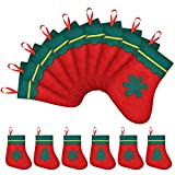 Syhood 24 Pieces Christmas Mini Stocking 7 Inches Xmas Gift Card Stockings Silverware Holders for Rustic Christmas Tree Decoration Supplies, Red and Green