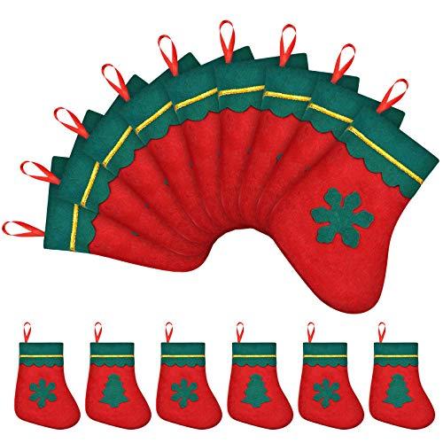 Mini Calza Natalizia da 24 Pezzi Calze per Carte Regalo Natalizie da 7 Pollici Supporti per Argenteria per Forniture Decorative per L'Albero di Natale Rustico, Rosso e Verde