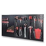 FIXKIT El Portaherramientas de Pared Hecho de Metal, Incluye Portaherramientas de 15 Piezas, 120 x 60 x 2 cm, Portapunta Perforado de Pared Taller, Negro y Rojo