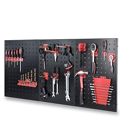 FIXKIT Werkzeuglochwand aus Metall, inkl. 15-teiliges Werkzeughalter-Set 120 x 60 x 2 cm, Werkzeugwand Lochwand für Werkstatt, Schwarz und Rot