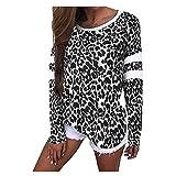 Alwayswin Damen Sexy Mode T-Shirt Frauen Langarm Leopard T-Shirt Casual Print Langarm Oberteil O-Ausschnitt Lose Langarmshirts Tops Herbst Wild Blusen Tuniken Poloshirts Sweatshirt