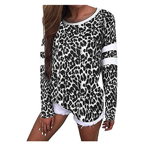TUDUZ Blusas Mujer Manga Larga Tops Estampado De Leopardo Camiseta Holgado Camisas Casual (Negro, M)