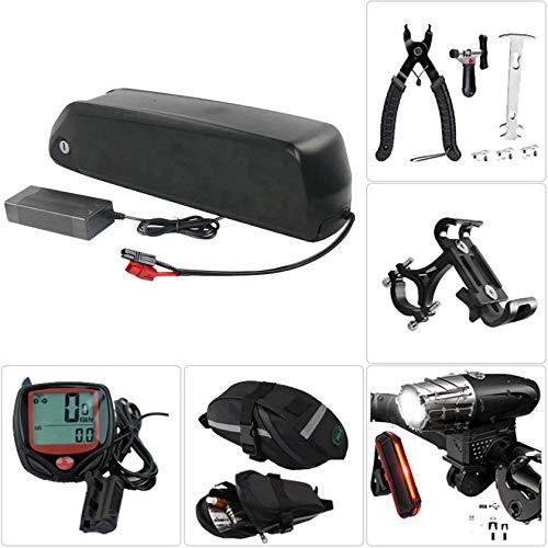 36V17.5Ah Caja de soporte batería litio para bicicletas eléctricas Kit de cargador de batería de litio de bicicleta eléctrica, faro de carga USB y juego de luces traseras, herramienta de extracción,A