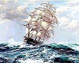 Rahmenlos DIY öLgemäLde Malen Nach Zahlen Erwachsene Leinwand Abstrakt Segelboot Wohnkultur Kunst GemäLde FüR Wohnzimmer