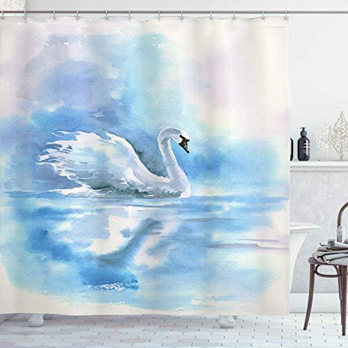 Schwan Duschvorhang, Aquarell Zeichnung Bild von Schwan im Fluss Dunstige Farbe Aqua Konzept Bild, 72 'lang, weiß blau