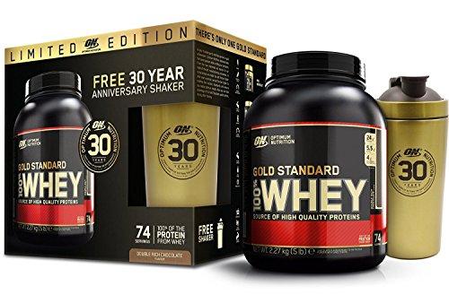 100% Whey Gold Standard 5 lbs (2273g) + Shaker - Anniversary Pack Doppio Cioccolato