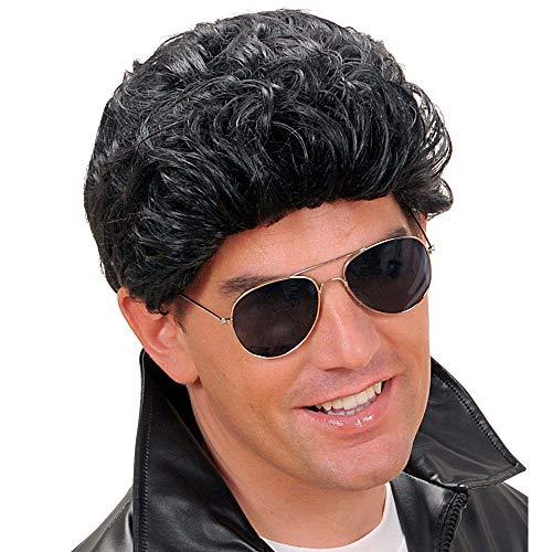 Widmann T0801 pruik Greaser, heren, zwart, eenheidsmaat
