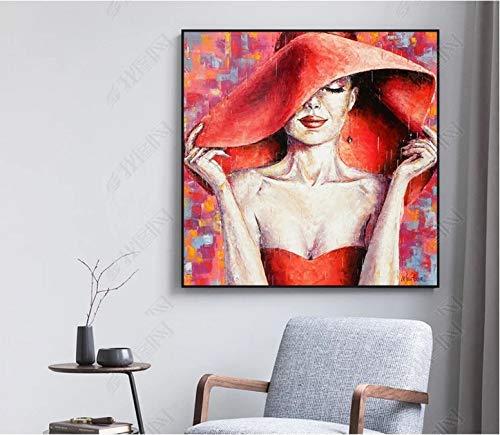 baodanla Geen frame Rode Schoonheid Hoed Creatieve Modulaire Print Beeld Muur Kunst Canvas ngs Decoratie voor Woonkamer Geen Ingelijste