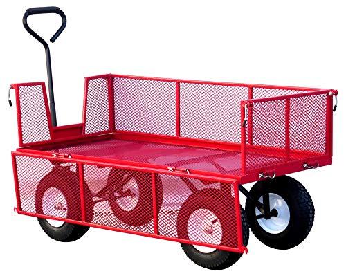 LiftMate Heavy Duty Garden Trailer with Folding Sides, Large Garden Trolley, Lightweight, 350kg Capacity