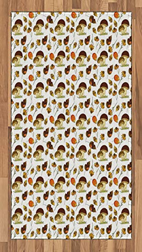 ABAKUHAUS Woodsy Tapis Tissé à Plat, Saison d'automne La Chute des Feuilles, Salle de Séjour Chambre à Coucher Salle à Manger, 80 x 150 cm, Brown Dark Cream Peach
