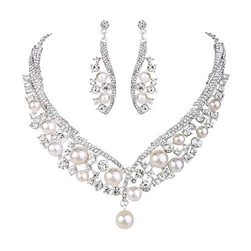 Clearine Damen Hochzeit Braut Kristall Cream Künstliche Perlen Cluster Beaded Statement Halskette Dangle Ohrringe Schmuck Set Klar Silber-Ton