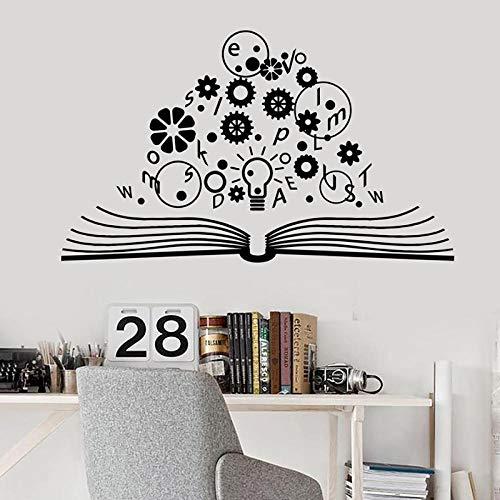 lzzfgah Libro abierto Tatuajes de pared Escuela Cerebro Ciencia Lámpara Engranajes Física Vinilo Etiqueta de la pared Laboratorio Sala de estudio Decoración interior Mural 42x70 cm