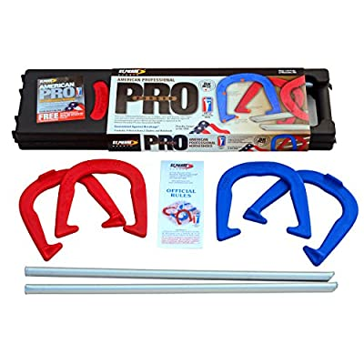St. Pierre American Professional Series Horseshoes Complete Set: Includes 4 Horseshoes, 24-inch Solid Steel Stakes, Official Rulebook, and Black Plastic Tote