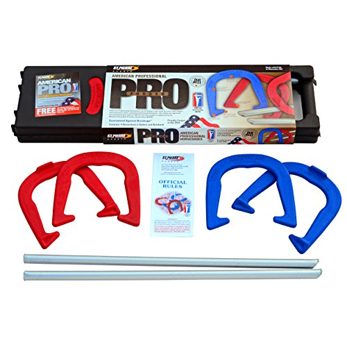 St. Pierre American Professional Series Horseshoes Complete Set: Includes 4 Horseshoes, Solid Steel Stakes, and Rule Book.