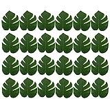 DELSEN 24 Stück Medium Künstlich Tropische Blätter gefälschte Palmblatt Palme Monstera für Hawaiian Luau Jungle Beach Theme Party Dekorationen(20 x 17,5cm) - 2