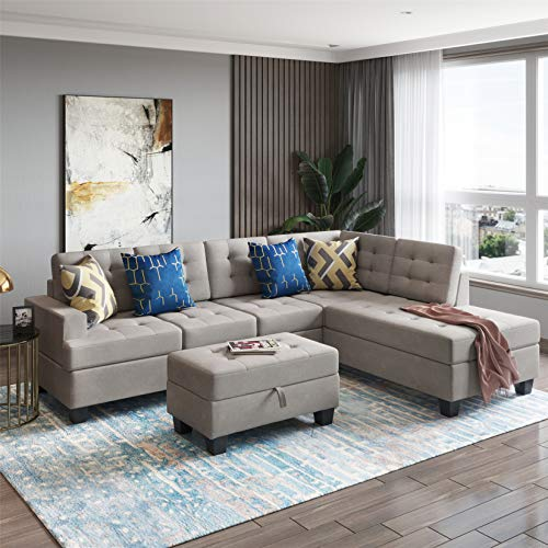 3 Piece Sectional Sofa, L-Shaped Sofa Couch, Living Room Rivet Modern Upholstered Set with Ottoman and Cushions (Gray with Chaise)
