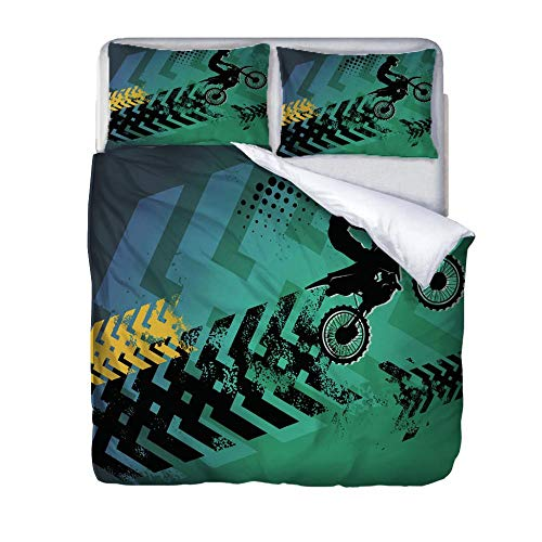 HLLIZ Super Size Duvet Cover Set,Cyclist Bedding Set With Zipper Closure, Microfiber Bedding 1 Quilt Cover With 2 Pillowcases For Kids And Teens Adults, 260 cm W X 240 cm H