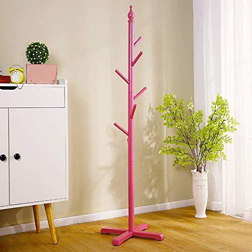 Staande kapstok massief houten hangers ophangsysteem blauw slaapkamer stand moderne eenvoud 120 * 38cm A ++ (kleur: roze) roze